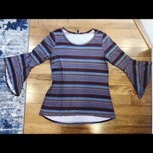 RELATIVITY Striped Bell Sleeve Top